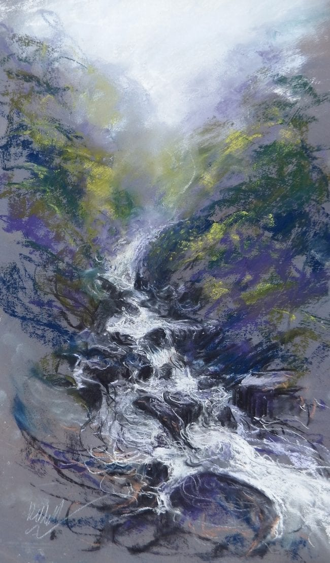 A pastel sketch of a waterfall tumbling through a gorge. The vigorous pastel mark making captures the fast flowing water falling over rocks, with dark trees growing on the sides of the gorge, becoming smudged and misty in the distance. The yellows and greens of the trees contrast with the lilac, purple and grey rocks.